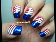 10 awesome fourth of july nail art ideas of july nail designs ideas nail art July 4th Nails Designs, 4th Of July Nails, Acrylic Nail Art, Acrylic Nail Designs, Fingernail Designs, Cute Nails, Pretty Nails, Fancy Nails, Patriotic Nails