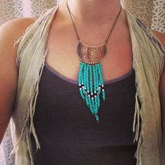 Fringed Brass Shield Necklace, Turquoise Fringe Necklace, Hammered Brass Necklace, Turquoise Beaded Fringe Necklace, Red Fern Studio