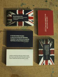 Business cards for English Teacher (concept) by eva merzie, via Behance