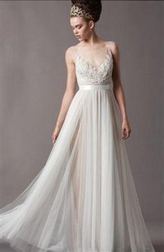 Stunning Tulle & Satin A-line Illusion High Neckline Natural Waistline Wedding Dress