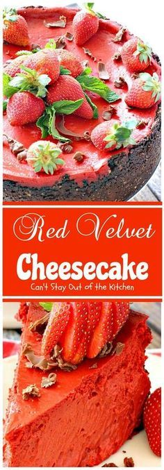 Sumptuous Red Velvet Cheesecake has an amazing Oreo, almond & chocolate chip crust. Love this 4 holiday baking or Valentine's Day. Cheesecake Desserts, Just Desserts, Delicious Desserts, Dessert Recipes, Yummy Food, Cheesecake Brownies, Almond Chocolate, Chocolate Cream, Melt Chocolate