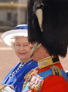 Britain's Queen Elizabeth II smiles towards the Duke of Edinburgh as they leave Buckingham Palace in a carriage for the Trooping Colour ceremony marking her official birthday, 14 June 2003 Die Queen, Hm The Queen, Royal Queen, Her Majesty The Queen, Prinz Phillip, English Royal Family, Isabel Ii, Queen Of England, Royal Families