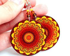 Fall Fashion Rosette Mandala Yellow Brown Orange Round decoupage earrings ,  gift for her under 25 (A12)