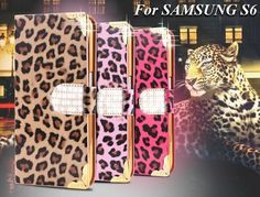 Bling Diamond Samsung S6 Leopard Skins Cases Fashion Women PU Leather Flip Cover Case For Samsung Galaxy S6 &S6 Edge