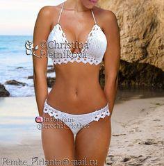 Image of Crochet bikini honeymoon swimsuit white bathing suit