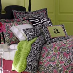 Zebra and paisley girl's bedroom design idea (Neiman Marcus) ***Find materials at fabric store and make on your own!!!