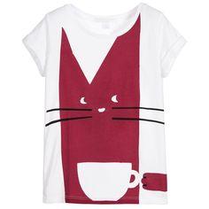 Burberry - Girls White Cotton T-Shirt with Dark Pink Cat Print | Childrensalon