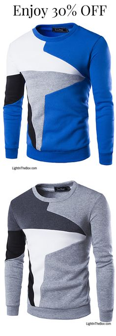 Casual patchwork star print men pullover in blue, grey, black colours. Shop it at $16.79 by clicking on the picture.