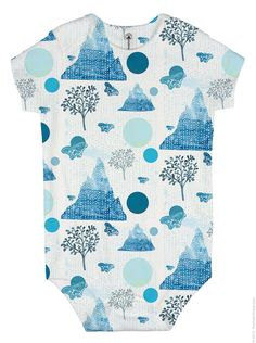 Butterfly Mountain print on a baby's onesie. Cute as! Surface Design, Spoonflower, Onesies, Mountain, Men Casual, Gift Wrapping, Butterfly, King, Wallpaper