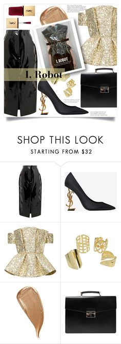"""I, Robot"" by litenfels ❤ liked on Polyvore featuring Solace, Yves Saint Laurent, Bambah, Kevyn Aucoin, Prada, gold and saintlaurent"
