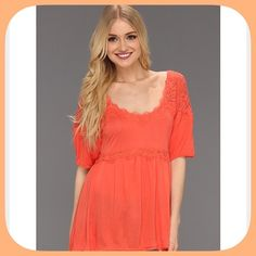 NWT Free People  Orange Apricot Lace Tunic/Tee This is a very sexy sassy top! The lace detailing is gorgeous! Trendy Hot color this spring ! Armpit to armpit 18 inches across! Length 29 inches! Free People Tops Tunics