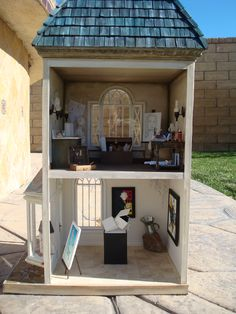 Dollhouse Miniature Art Gallery and artist's studio. My best product so far.