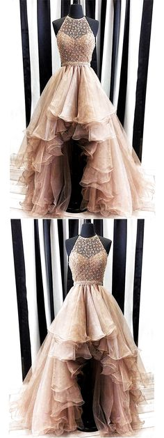On Sale Comely Prom Dresses 2019 2018 Popular Halter Top Beaded Asymmetrical High-Low Tulle Prom Dresses, Prom Dresses, 2018 Popular Halter Top Beaded Asymmetrical High-Low Tulle Prom Dresses High Low Prom Dresses, Prom Dresses 2018, A Line Prom Dresses, Tulle Prom Dress, Cheap Prom Dresses, Evening Dresses, Maxi Dresses, Halter Top Prom Dresses, High Low Gown