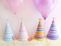 Free printable stripy Party Hats
