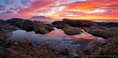 A view of Table Mountain from the Blaauwberg Rockpool at Sunset | by Panorama Paul