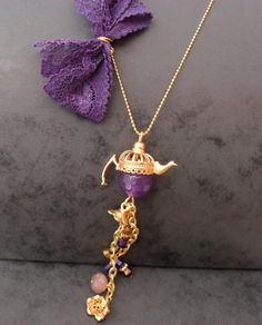 Purple Teapot Necklace with Swarovski Items by SwedishShop on Etsy, $9.90