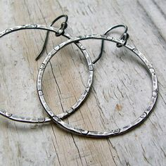 Sterling Silver Hammered Hoop Earrings - Oxidized Gray Rustic Patterned Antiqued via Etsy