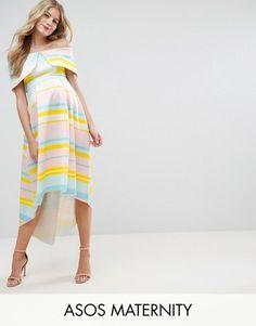 Shop Now - >  https://api.shopstyle.com/action/apiVisitRetailer?id=644540394&pid=uid6996-25233114-59 ASOS Maternity Bright Stripe Deep Fold Dress  ...