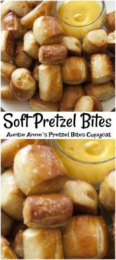 Homemade Pretzel bites taste like Auntie Ann. Homemade Pretzel bites taste like Auntie Annes. At home homemade soft pretzel Appetizer Recipes, Snack Recipes, Dessert Recipes, Cooking Recipes, Skillet Recipes, Cooking Tools, Party Appetizers, Party Desserts, Homemade Soft Pretzels