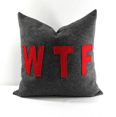 WTF Felt Pillow Cover. 18x18 pillow case. by TwistedBobbinDesigns