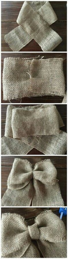 Country Crafts DIY Bows tutorial- How to make a burlap bow Burlap Flowers, Burlap Bows, Fabric Flowers, Burlap Curtains, Diy Flowers, Burlap Projects, Burlap Crafts, Diy Projects, Diy Wreath