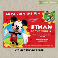 Mickey Mouse Clubhouse Invitation, Mickey Mouse Birthday Invitation, Mickey  Mouse Clubhouse Party, Mickey Mouse, Mickey Clubhouse Invitation |  Pinterest ...
