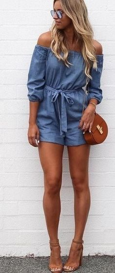 #summer #fblogger #outfits | Chambray Playsuit                                                                             Source