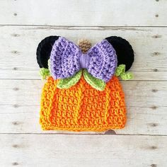 Crochet Minnie Mouse Pumpkin Beanie Hat Halloween Fall Infant Newborn Baby Toddler Child Adult Girl Photography Photo Prop Baby Shower Gift