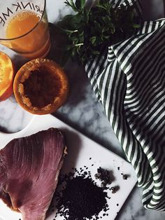 Italian seared tuna ingredients: tuna steak orange mint and capers Italy food culture Italian cuisine, one of the richest cuisines in the world, v… - myeasyidea sites Vegetarian Italian Recipes, Sicilian Recipes, Tuna Recipes, Gourmet Recipes, Types Of Sandwiches, Seared Tuna, Tuna Steaks, Marinated Steak, Italy Food