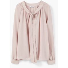 Openwork Trim Blouse ($37) ❤ liked on Polyvore featuring tops, blouses, mango, long sleeve blouse, mango tops, pink blouse, mango blouse and long sleeve bow blouse