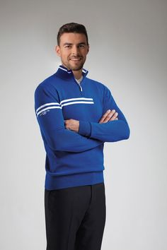 f703302e Mens Zip Neck Double Chest Stripe Cotton Golf Sweater Golf Sweaters, Mens  Golf Outfit,