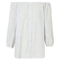 Blusa ombro a ombro Market 33 listras - branco