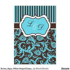 """Brown, Aqua, White Striped Damask Wedding Invite 5"""" X 7"""" Invitation Card"""