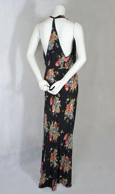 clothing at Vintage Textile: bias cut dress Crepe Dress, Silk Crepe, 1930s Fashion, Vintage Fashion, Marcel Rochas, Vintage Dresses, Vintage Outfits, Bias Cut Dress, 1930s Dress