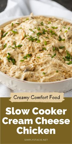 Slow Cooker Cream Cheese Chicken - Creamy delicious comfort food. Tender chicken is slow cooked in a creamy base to make this dish a memorable meal for your family. Healthy Crockpot Recipes, Cooking Recipes, Cream Cheese Chicken, Best Slow Cooker, My Favorite Food, Appetizer Recipes, Meals, Ethnic Recipes, Cooker Recipes