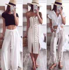 linen outfit beach outfit casual outfit linen pants white stripe dress stripe pants white button top