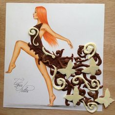 Chocolate Gown; melted chocolate and white chocolate butterflies