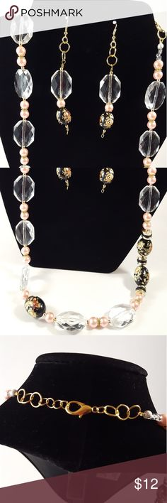 A pair of pink black necklace and earrings Acrylic and glass beaded handmade necklaces Jewelry Necklaces