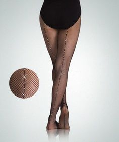 Body Wrappers C64 Child Back Seamed Fishnet Tights w/Rhinestones