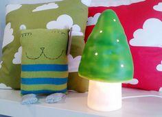 Mushroom lamp, cloud pillow cushion, and friend / Leenaelina shop in Finland