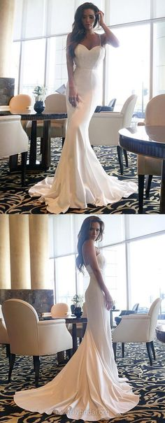 Lace Prom Dresses, White Prom Dresses Long, Satin Chiffon Prom Dresses Sweetheart, Modest Prom Dresses Trumpet/Mermaid, Sexy Prom Dresses For Teens