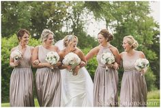 Blush pink long bridesmaid dresses in a variety of styles in the same coordinating colour | Hedsor House, Buckinghamshire | Nick Rose Photography | www.nickrosephotography.com  #pinkbridesmaids #bridesmaiddresses #longbridesmaiddresses