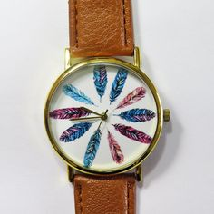 Colorful Feathers Watch Vintage Style Leather Watch by FreeForme, $12.00