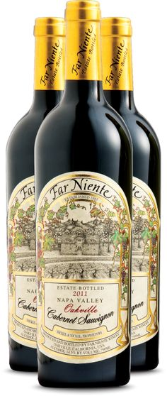 """Far Niente Estate Bottled Cabernet Sauvignon. """"... classically structured Cabernets that are rich in texture, layered in flavor, complex and long... The 2011 Far Niente Cabernet Sauvignon offers aromas of tobacco leaf, dark cherry, and a whisper of floral perfume. A silky entry leads to a juicy midpalate of red fruit and earth. Fine tannins carry a light briar note, lingering on an elegant finish."""""""