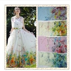 *Free shipping Printed pure silk chiffon fabric(China (Mainland))