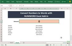 Convert Numbers to Words/Text in Excel WITHOUT pasting macros again! - NUMWORD Excel Addin - PakAccountants.com