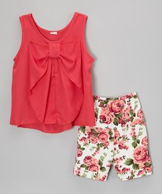 Take a look at the Coral Bow Tank & Floral Shorts - Girls on #zulily today!
