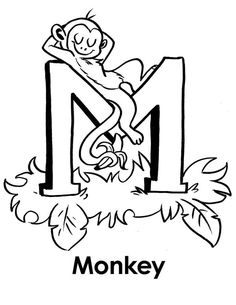 monkey monkey sleeps on letter m coloring page - Letter M Colouring Pages