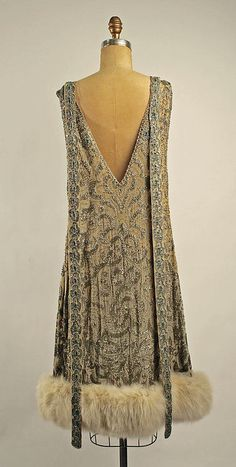 Fur Trimmed Evening Dress, ca. 1920s I love this interesting fur trim. It's definitely not one I've seen before! Penny