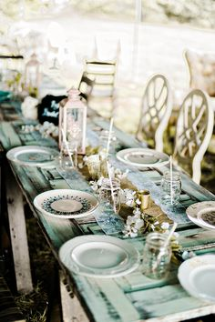Family style table setting or for a rustic wedding reception!